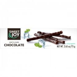 Tumšā šokolādes stienīši ar piparmētru garšu Neto masa: 75g